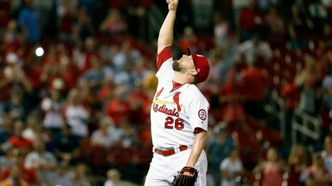 St. Louis Cardinals relief pitcher Bud Norris celebrates after striking out San Diego Padres' Raffy Lopez for the final out of a baseball game Monday, June 11, 2018, in St. Louis. The Cardinals won 5-2. (AP Photo/Jeff Roberson)