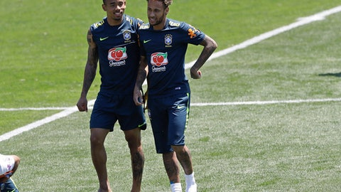 Brazil's Neymar, right, and Gabriel Jesus attend a training session in Sochi, Russia, Tuesday, June 12, 2018. Brazil will face Switzerland on June 17 in the group E for the soccer World Cup. (AP Photo/Andre Penner)