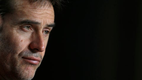 FILE - In this March 26, 2018 file photo, Spain's national soccer team coach Julen Lopetegui listens to a question during a news conference at the Wanda Metropolitano stadium in Madrid, Spain. Real Madrid said on Tuesday June 12, 2018 that Spain coach Julen Lopetegui will be the team's manager after the upcoming soccer World Cup. (AP Photo/Francisco Seco, File)