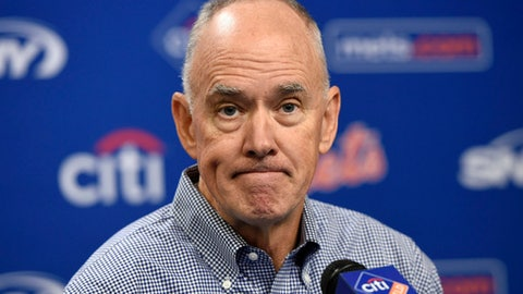 FILE - In this Oct. 6, 2015, file photo,  New York Mets general manager Sandy Alderson reacts to questions from the media during a baseball news conference at Citi Field in New York. Alderson says his players are running out of time to turn around their season and he takes the responsibility as the person in charge of assembling the roster. New York started 11-1 but began Tuesday, June 12, 2018, with a 28-34 record, sitting fourth in the NL East. (AP Photo/Kathy Kmonicek, Fle)