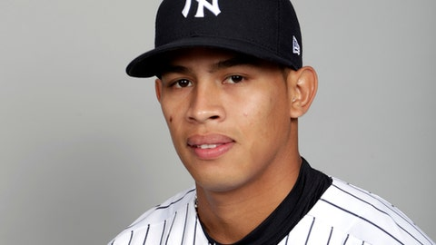 FILE - This is a 2018 photo of Jonathan Loaisiga of the New York Yankees baseball team. Loaisiga will be brought up from Double-A by the New York Yankees to make his major league debut against Tampa Bay on Thursday night, the Yankees announced Tuesday, June 12, 2018. (AP Photo/Lynne Sladky, File)