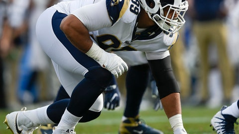 Los Angeles Rams defensive tackle Aaron Donald in action during the first half of an NFL football game against the Philadelphia Eagles Sunday, Dec. 10, 2017, in Los Angeles. (AP Photo/Kelvin Kuo)