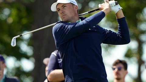 Jordan Spieth hits off the seventh tee during a practice round for the U.S. Open Golf Championship, Tuesday, June 12, 2018, in Southampton, N.Y. (AP Photo/Carolyn Kaster)
