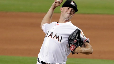 Miami Marlins starting pitcher Trevor Richards delivers during the fifth inning of the team's baseball game against the San Francisco Giants, Tuesday, June 12, 2018, in Miami. (AP Photo/Lynne Sladky)