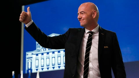 FIFA President Gianni Infantino arrives at the FIFA congress on the eve of the opener of the 2018 soccer World Cup in Moscow, Russia, Wednesday, June 13, 2018. The congress in Moscow is set to choose the host or hosts for the 2026 World Cup. (AP Photo/Pavel Golovkin)