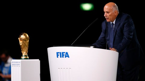 Head of the Palestinian Football Association Jibril Rajoub speaks at the FIFA congress on the eve of the opener of the 2018 soccer World Cup in Moscow, Russia, Wednesday, June 13, 2018. The congress in Moscow is set to choose the host or hosts for the 2026 World Cup. (AP Photo/Alexander Zemlianichenko)