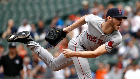 Boston Red Sox starting pitcher Chris Sale follows through on a pitch to the Baltimore Orioles in the second inning of a baseball game, Wednesday, June 13, 2018, in Baltimore. (AP Photo/Patrick Semansky)