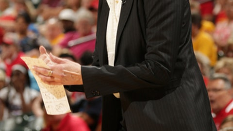 INDIANAPOLIS, IN - JUNE 12:  Anne Donovan, head coach of the Connecticut Sun reacts to a call as the Sun took on the Indiana Fever  on June 12, 2013 at Bankers Life Fieldhouse in Indianapolis, Indiana. (Photo by Ron Hoskins/NBAE via Getty Images)