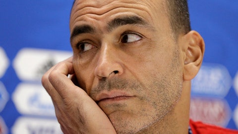 Egypt captain Essam El Hadary reacts during a press conference on the eve of the group A match between Egypt and Uruguay at the 2018 soccer World Cup in the Yekaterinburg Arena, Yekaterinburg, Russia, Thursday, June 14, 2018. (AP Photo/Mark Baker)