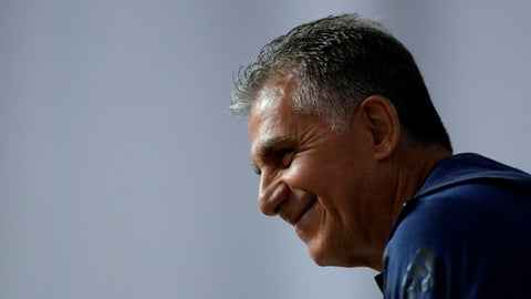 Iran head coach Carlos Queiroz, during a media conference of Iran on the eve of the group B match between Morocco and Iran at the 2018 soccer World Cup in the St. Petersburg Stadium in St. Petersburg, Russia, Thursday, June 14, 2018. (AP Photo/Themba Hadebe)