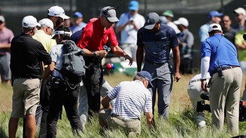 Tiger Woods, center, helps officials look for a ball hit into the fescue by Dustin Johnson on the fifth hole during the first round of the U.S. Open Golf Championship, Thursday, June 14, 2018, in Southampton, N.Y. (AP Photo/Frank Franklin II)