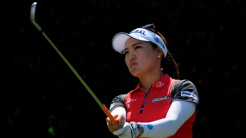 So Yeon Ryu, of South Korea, tees off on the seventh hole during the third round of the HUGEL-JTBC LA Open golf tournament at Wilshire Country Club, Saturday, April 21, 2018, in Los Angeles. (AP Photo/Mark J. Terrill)