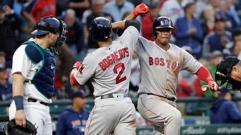Boston Red Sox's Xander Bogaerts (2) is congratulated on his solo home run by Rafael Devers as Seattle Mariners catcher Mike Zunino stands nearby during the sixth inning of a baseball game Thursday, June 14, 2018, in Seattle. (AP Photo/Elaine Thompson)