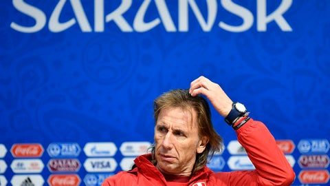 Peru head coach Ricardo Gareca reacts during Peru's official press conference on the eve of the group C match between Peru and Denmark at the 2018 soccer World Cup in the Mordovia Arena in Saransk, Russia, Friday, June 15, 2018. (AP Photo/Martin Meissner)