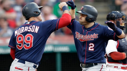 Minnesota Twins' Brian Dozier (2) is congratulated by Logan Morrison (99) after Dozier hit a two-run home run off Cleveland Indians starting pitcher Corey Kluber during the fourth inning of a baseball game Friday, June 15, 2018, in Cleveland. Morrison scored on the play. (AP Photo/Tony Dejak)