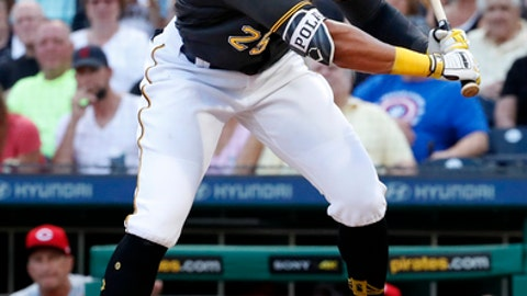 Pittsburgh Pirates' Gregory Polanco gets out of the way of an inside pitch from Cincinnati Reds starter Matt Harvey during the second inning of a baseball game in Pittsburgh, Friday, June 15, 2018. (AP Photo/Gene J. Puskar)