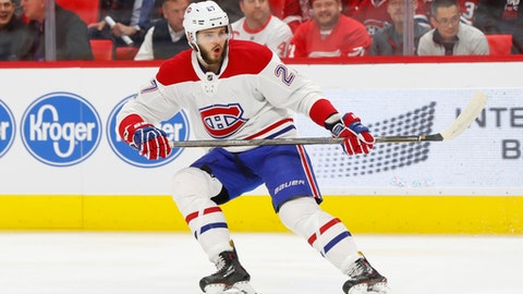 FILE - In this Nov. 30, 2017, file photo, Montreal Canadiens left wing Alex Galchenyuk plays against the Detroit Red Wings in the first period of an NHL hockey game in Detroit. The Arizona Coyotes have traded forward Max Domi to the Canadiens for Galchenyuk in an exchange of young, talented players. (AP Photo/Paul Sancya, File)