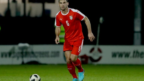FILE - In this March 27, 2018 file photo, Serbia defender Branislav Ivanovic during the international friendly soccer match between Serbia and Nigeria at The Hive Stadium in London. (AP Photo/Matt Dunham, File)