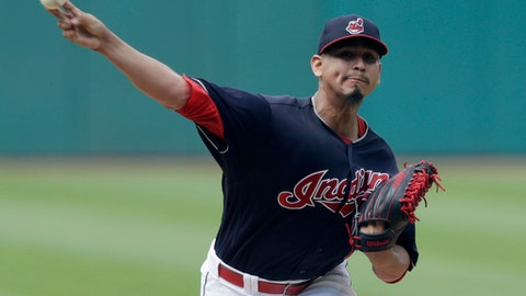 Cleveland Indians starting pitcher Carlos Carrasco delivers in the first inning of a baseball game against the Minnesota Twins, Saturday, June 16, 2018, in Cleveland. (AP Photo/Tony Dejak)