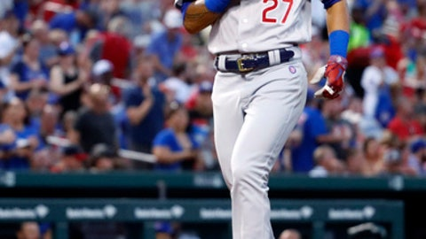 Chicago Cubs' Addison Russell scores after hitting a solo home run during the fourth inning of a baseball game against the St. Louis Cardinals Saturday, June 16, 2018, in St. Louis. (AP Photo/Jeff Roberson)