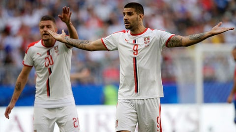 Serbia's Aleksandar Mitrovic reacts during the group E match between Costa Rica and Serbia at the 2018 soccer World Cup in the Samara Arena in Samara, Russia, Sunday, June 17, 2018. (AP Photo/Mark Baker)