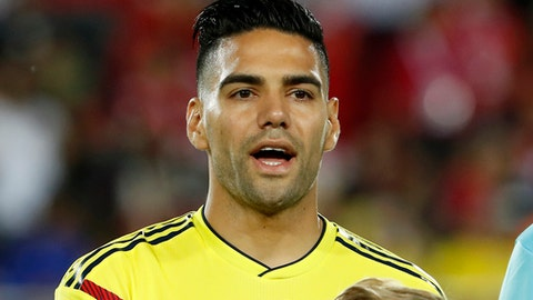 FILE - In a Friday, June 1, 2018 file photo, Colombia's Ramadel Falcao stands prior to the start of the riendly soccer match between Egypt and Colombia in Bergamo, Italy. With Radamel Falcao Garcia finally healthy enough to play in his first World Cup, Colombia is trying to get accustomed to handling higher expectations.  (AP Photo/Antonio Calanni, File)