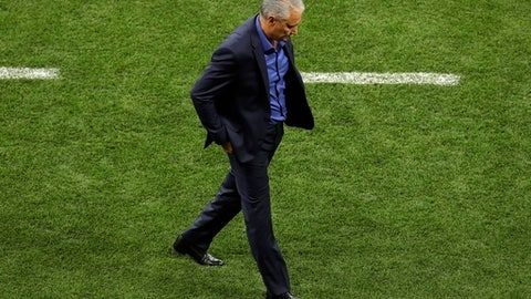 Brazil head coach Tite reacts during the group E match between Brazil and Switzerland at the 2018 soccer World Cup in the Rostov Arena in Rostov-on-Don, Russia, Sunday, June 17, 2018. The match ended 1-1. (AP Photo/Andrew Medichini)