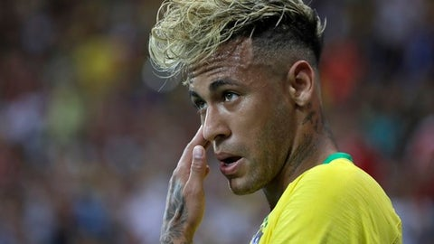 Brazil's Neymar during the group E match between Brazil and Switzerland at the 2018 soccer World Cup in the Rostov Arena in Rostov-on-Don, Russia, Sunday, June 17, 2018. (AP Photo/Themba Hadebe)