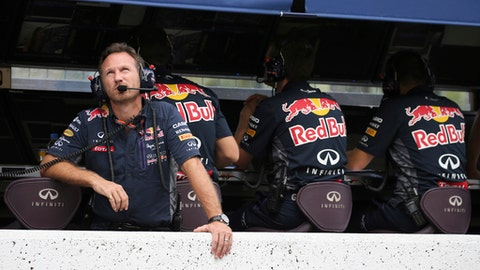 "FILE - In this Saturday, Sept. 26, 2015 file photo, Red Bull Racing Team principal Christian Horner looks up during the qualifying session for the Japanese Formula One Grand Prix at the Suzuka Circuit in Suzuka, central Japan. Honda will become Red Bull's engine supplier from next season after the Formula One team confirmed its anticipated split with Renault on Tuesday, June 19, 2018. The Japanese manufacturer will supply engines for 2019 and 2020, and Red Bull team principal Christian Horner hailed the deal as ""an exciting new phase"" in the bid to return to the top of F1(Yuriko Nakao/Pool Photo via AP, file)"