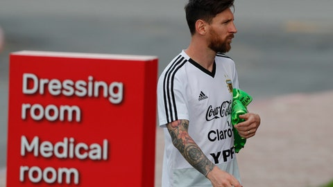 Lionel Messi arrives for a training session of Argentina at the 2018 soccer World Cup in Bronnitsy, Russia, Tuesday, June 19, 2018. (AP Photo/Ricardo Mazalan)