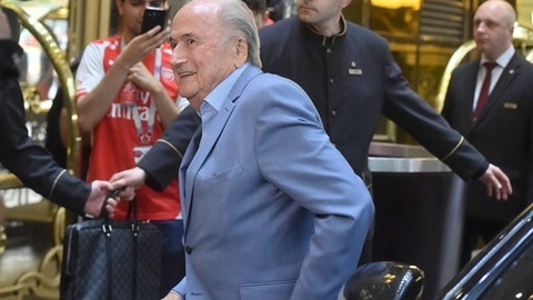 Former FIFA President Joseph Blatter arrives at a hotel in Moscow, Russia, Tuesday, June 19, 2018. (AP Photo/Dmitry Serebryakov)