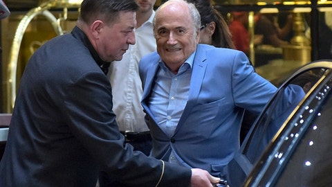 Former FIFA President Joseph Blatter arrives at a hotel in Moscow, Russia, Tuesday, June 19, 2018. Suspended former FIFA president Sepp Blatter has arrived in Moscow for a World Cup visit at the invitation of Russian President Vladimir Putin.(AP Photo/Dmitry Serebryakov)