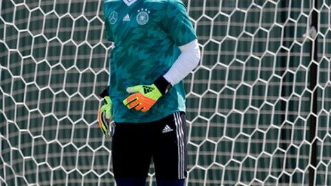Germany goalkeeper Manuel Neuer attends a training session in Sochi, Russia, Wednesday, June 20, 2018. Germany will face Sweden on June 23 in the group F for the soccer World Cup. (AP Photo/Andre Penner)
