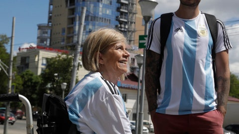 Argentina's fans Nora Espector, left, and her son Emil Davisson pose for a photograph in front of an official media hotel in Nizhny Novgorod during the 2018 soccer World Cup in Russia, Wednesday, June 20, 2018. (AP Photo/Petr David Josek)