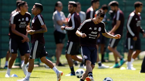 Mexico's Hirving Lozano control the ball, during a training session of Mexico at the 2018 soccer World Cup in Moscow, Russia, Wednesday, June 20, 2018. (AP Photo/Eduardo Verdugo)