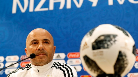 Argentina coach Jorge Sampaoli attends a press conference on the eve of the group D match between Croatia and Argentina in the Nizhny Novgorod stadium in Nizhny Novgorod, Russia, Wednesday, June 20, 2018. (AP Photo/Petr David Josek)