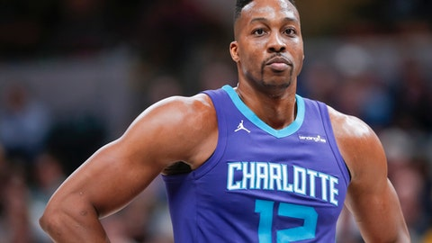 INDIANAPOLIS, IN - APRIL 10: Dwight Howard #12 of the Charlotte Hornets is seen during the game against the Indiana Pacers at Bankers Life Fieldhouse on April 10, 2018 in Indianapolis, Indiana. (Photo by Michael Hickey/Getty Images)