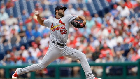 St. Louis Cardinals' Michael Wacha pitches during the second inning of a baseball game against the Philadelphia Phillies, Wednesday, June 20, 2018, in Philadelphia. (AP Photo/Matt Slocum)