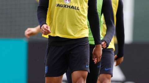 England's Ruben Loftus-Cheek takes part in a training session for the England team at the 2018 soccer World Cup, in the Spartak Zelenogorsk ground, Zelenogorsk near St. Petersburg, Russia, Thursday, June 21, 2018. (AP Photo/Alastair Grant)