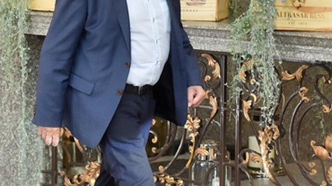 Former FIFA President Sepp Blatter leaves a hotel in Moscow, Russia, Thursday, June 21, 2018. Former FIFA President Sepp Blatter says he met Vladimir Putin at the Kremlin and talked about the Russia team's good start to the World Cup. (AP Photo/Dmitry Serebryakov)