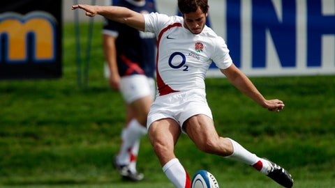 FILE - In this Saturday, June 6, 2009 file photo, England Saxons' Danny Cipriani kicks a conversion against Argentina during the second half of Game 1 during pool play at the Churchill Cup at Infinity Park in Glendale, Colo,. Flyhalf Cipriani will attempt to spark some life into an ailing England after earning his first test start since 2008 for the third and final test against South Africa at Newlands on Saturday, June 23, 2018.  (AP Photo/Jack Dempsey, File)