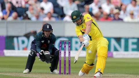 Australia's Aaron Finch plays a six during the One Day International match against England at the Emirates Riverside, Chester-le-Street, England, Thursday June 21, 2018. (Richard Sellers/PA via AP)