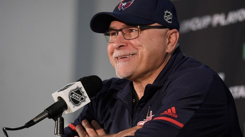 FILE - In this May 25, 2018, file photo, Washington Capitals head coach Barry Trotz speaks during an NHL hockey press conference in Arlington, Va. The New York Islanders have hired Barry Trotz as their new head coach. President of hockey operations Lou Lamoriello announced the move Thursday, June 21, 2018, at the NHL draft, two weeks after Trotz won the Stanley Cup with the Washington Capitals and three days after he resigned from that job. Trotz reportedly agreed to a five-year deal worth double what he would have made annually on a shorter contract with the Capitals. (AP Photo/Nick Wass, File)