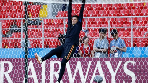 Belgium goalkeeper Thibaut Courtois warms up during Belgium's official training ahead of the group G match between Belgium and Tunisia at the 2018 soccer World Cup in the Spartak Stadium in Moscow, Russia, Friday, June 22, 2018. (AP Photo/Hassan Ammar)