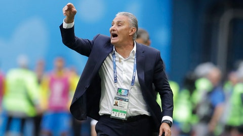 Brazil head coach Tite gestures during the group E match between Brazil and Costa Rica at the 2018 soccer World Cup in the St. Petersburg Stadium in St. Petersburg, Russia, Friday, June 22, 2018. (AP Photo/Petr David Josek)