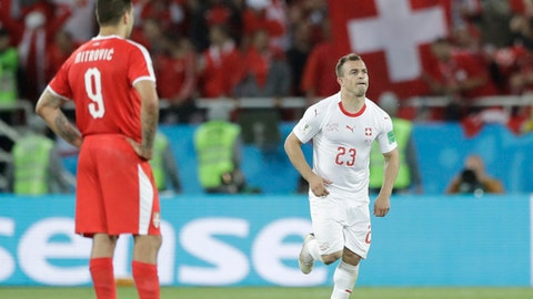 Last gasp Shaqiri seals Swiss win over Serbia in Group E