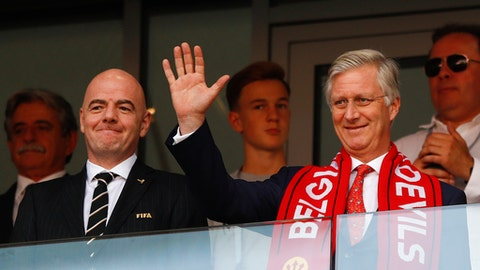 FIFA President Gianni Infantino, left, and King Philippe of Belgium attend the group G match between Belgium and Tunisia at the 2018 soccer World Cup in the Spartak Stadium in Moscow, Russia, Saturday, June 23, 2018. (AP Photo/Matthias Schrader)