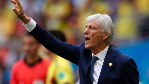 FILE - In this file photo from June 19, 2018, Colombia coach Jose Pekerman gestures during the World Cup match between Colombia and Japan at the Mordavia Arena in Saransk, Russia. (AP Photo/Natacha Pisarenko, File)