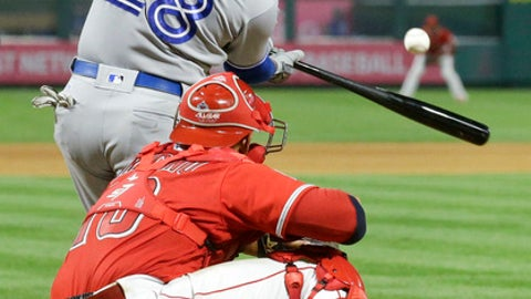 Toronto Blue Jays' Steve Pearce hits a three-run home run against the Los Angeles Angels during the ninth inning of a baseball game in Anaheim, Calif., Saturday, June 23, 2018. (AP Photo/Chris Carlson)