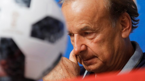Nigeria head coach Gernot Rohr attends a news conference in St.Petersburg, Monday, June 25, 2018 on the eve of the group D match between Nigeria and Argentina at the 2018 soccer World Cup in the Saint Petersburg Arena. (AP Photo/Dmitri Lovetsky)